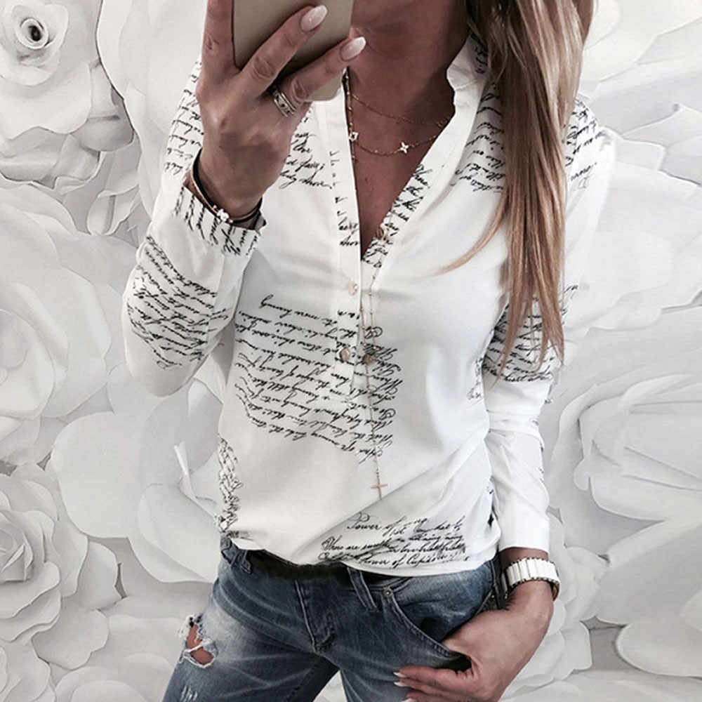 Partes superiores das mulheres e blusas V Pescoço Letras de Impressão Botão Manga Comprida Tops Blusa camisas das mulheres Verão 2019 roupas chemise femme
