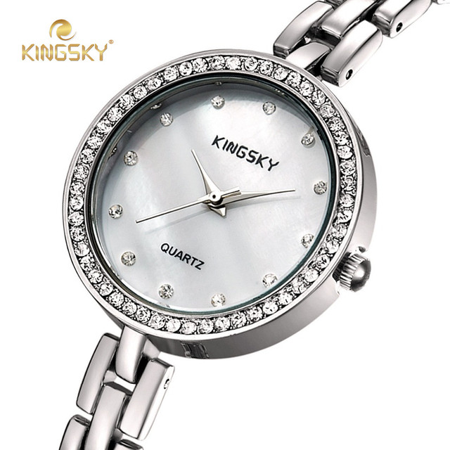 0695fe6d0 KINGSKY Small Bracelet Ladies Watches Big Face Gold Silver Rhinestone Dial  Quartz Movement Wristwatch
