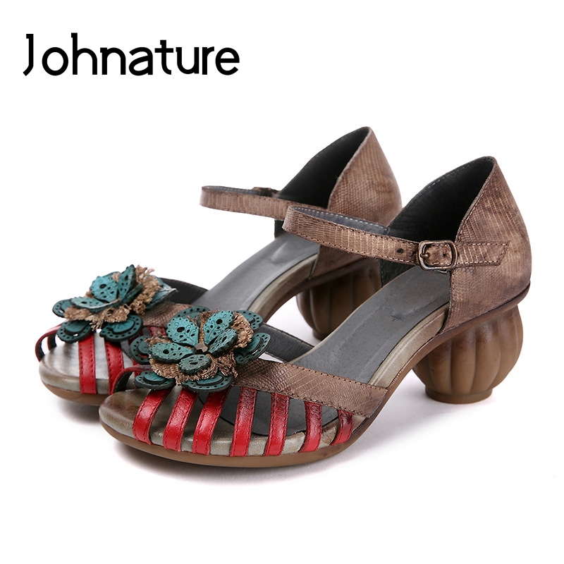 Johnature Genuine Leather Retro Buckle Strap Casual Summer Sandals Floral Totem Strange Style Peep Toe Handmade