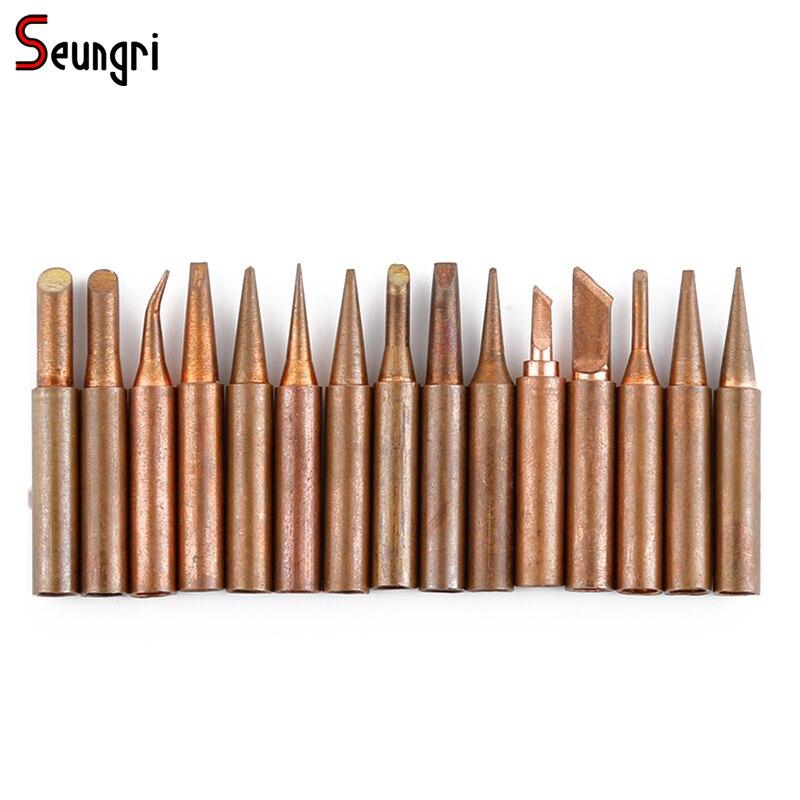 Seungri 15Pieces/lot Pure Copper Iron Tip 900M-T-K B D I For Hakko Rework Station Soldering Iron недорго, оригинальная цена