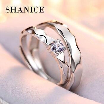 e286964472e9 SHANICE 925 Real 100% plata pura onda clásica diseño amantes abrir anillos  para hombre y mujer parejas boda y compromiso moda