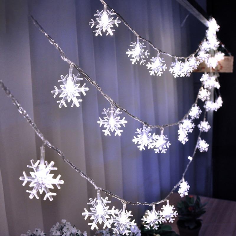3.5M 20Leds 220V Snowflake Light String Led String Fairy Light Xmas Party Home Garden Wedding Garland Xmas Tree Decorations