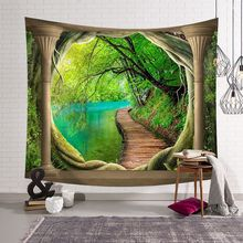 Open the Window Home Decor Wall Tapestry Hanging House Fairyland Psychedelic Tapestry Beach Mat Picnic Blanket Tablecloth wall hanging window beach microfiber tapestry