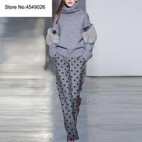 Женский зимний модный брючный костюм уличная Водолазка с длинным рукавом свитер + длинные брюки в горошек комплект из двух предметов C3151