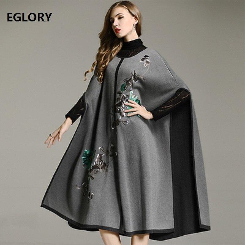 Одежда высшего качества Для женщин накидка пончо длинные пальто 2018 Осенне зимнее пальто леди ручная вышивка шерсть вязаные свитера Повседн
