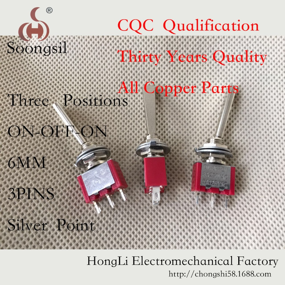 5PC/LOT Free Shipping New Long Flat handle 3 Pin ON-OFF-ON SPDT CQC  ROHS  Silvery Point Rocker Toggle Switch AC 6A/125V 3A/250V 5pcs black mini round 3 pin spdt on off rocker switch snap in s018y high quality
