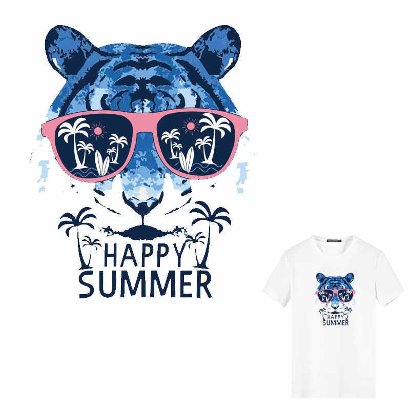 Cartoon śliczne tygrys głowy żelazko na plastry termiczne naklejki transferowe odznaki tarcza wystrój topy dżinsy paski koszulka DIY print PVC E