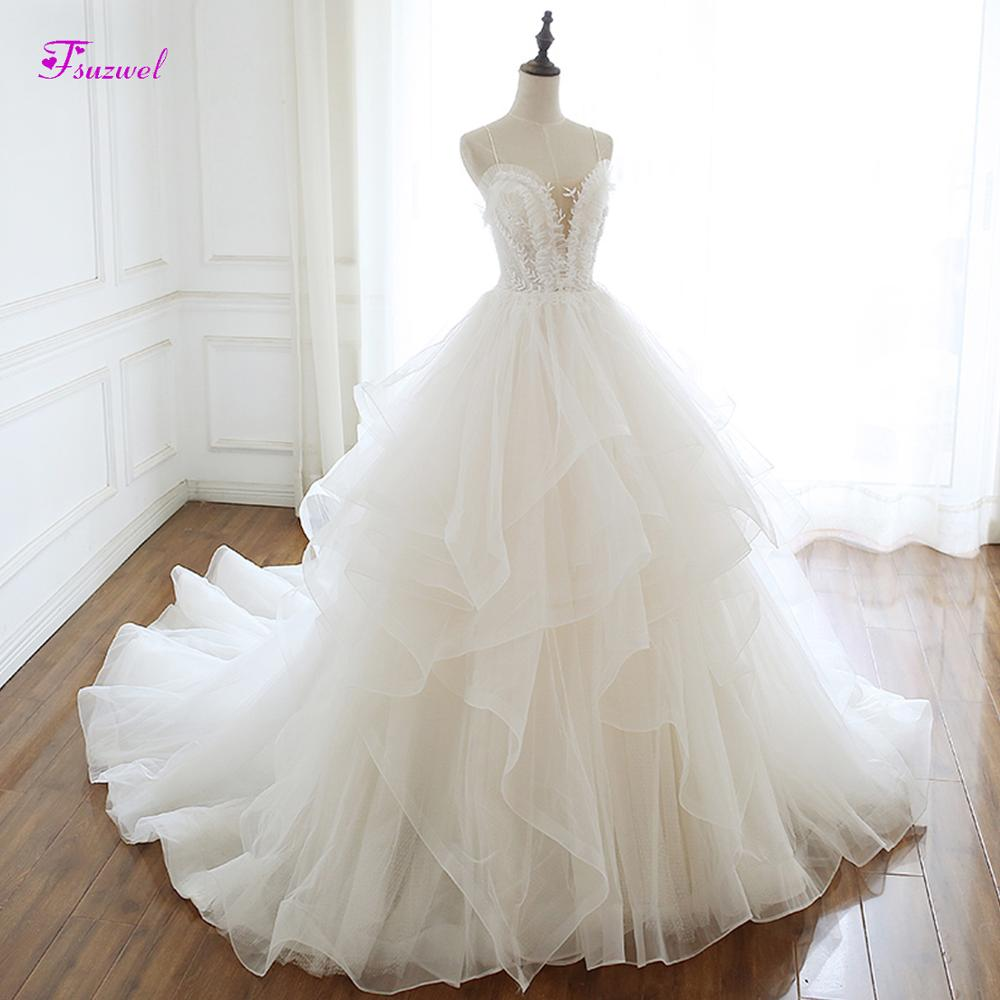 Fsuzwel Romantic Sweetheart Neck Lace Up A Line Wedding Dress 2019 Luxury Beaded Appliques Ruffles Netting