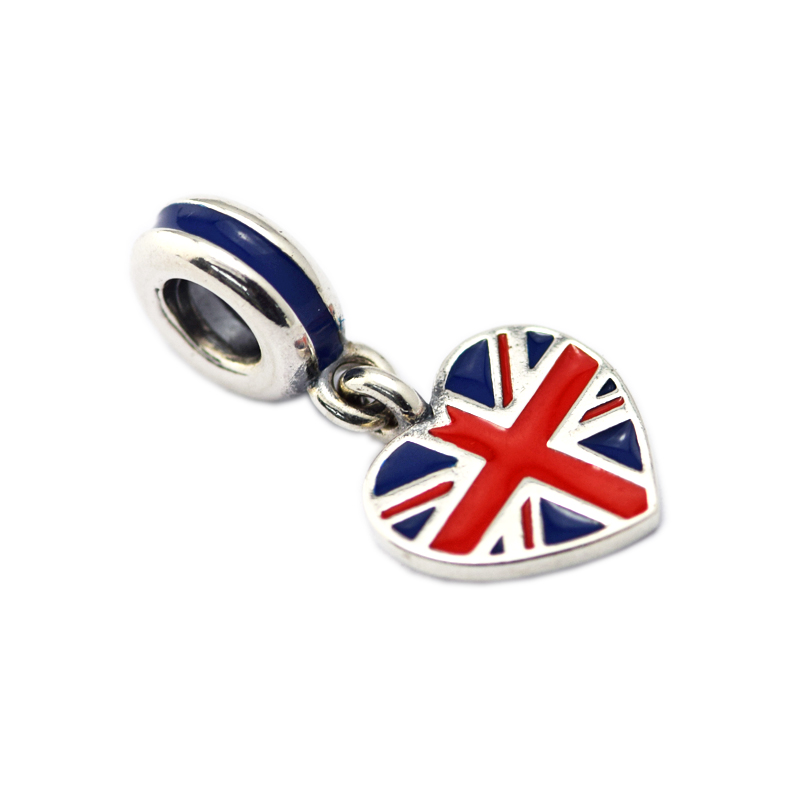 925 Sterling Silver Jewelry Great Britain Heart Flag Red and Blue Enamel Chamrs Beads Fits Bracelets For Jewelry Making
