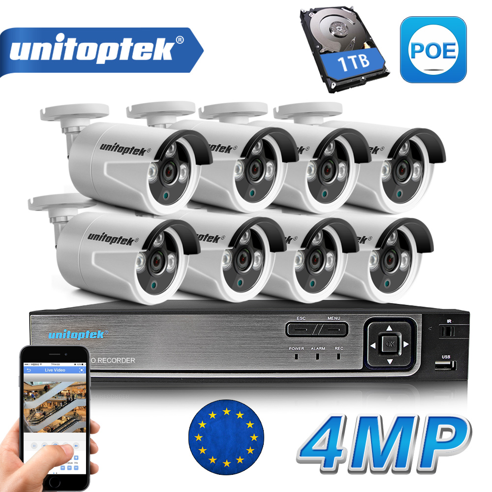 8CH POE NVR Kit 48V Power CCTV Camera System Onvif P2P 4MP HD H.265 IP Camera POE Outdoor Security Video Surveillance System h 265 h 264 8ch 48v cctv poe nvr ip camera security surveillance cctv system p2p onvif 4 5mp 8 4mp hd network video recorder