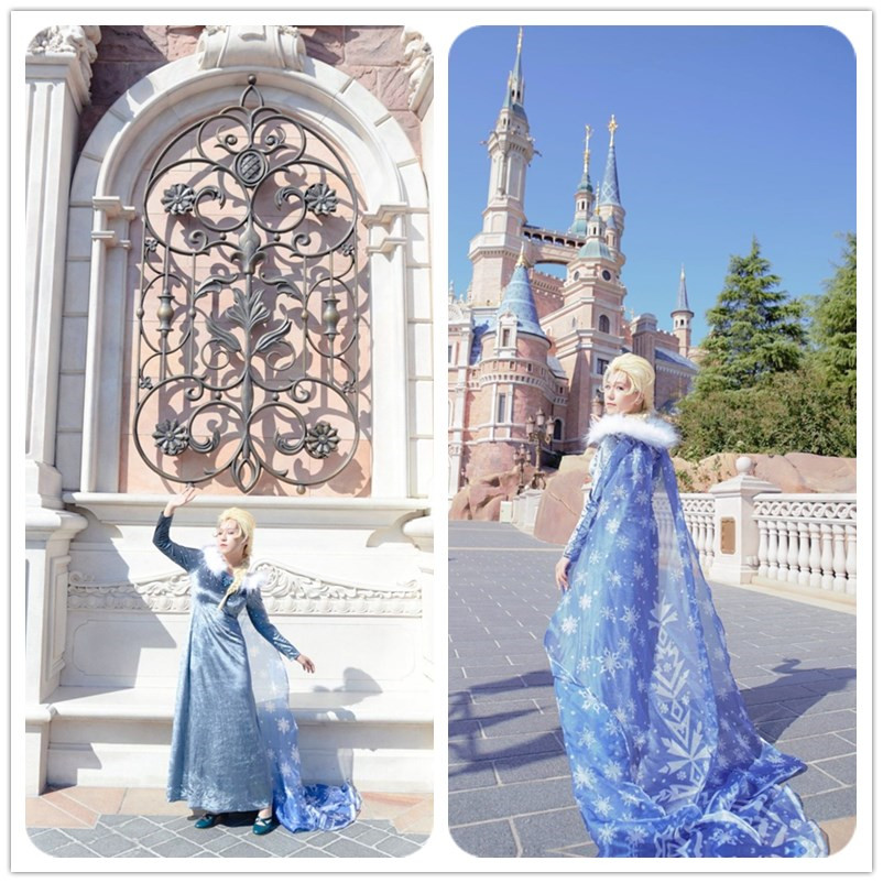 Elsa Dresses For Girls Princess Snow Queen Halloween  Cosplay Costumes  custom any size