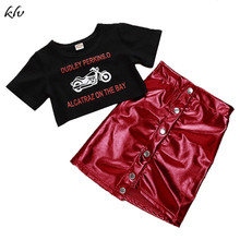 2019 Summer Toddler Kids Baby Girls Dress Set Cartoon Motor Print T-shirt Tops+Mini Button Skirt Outfits for 1-5Y toddler kids baby girls clothing summer short sleeve t shirt tops strap dress headbands outfits clothes set girl 1 5y