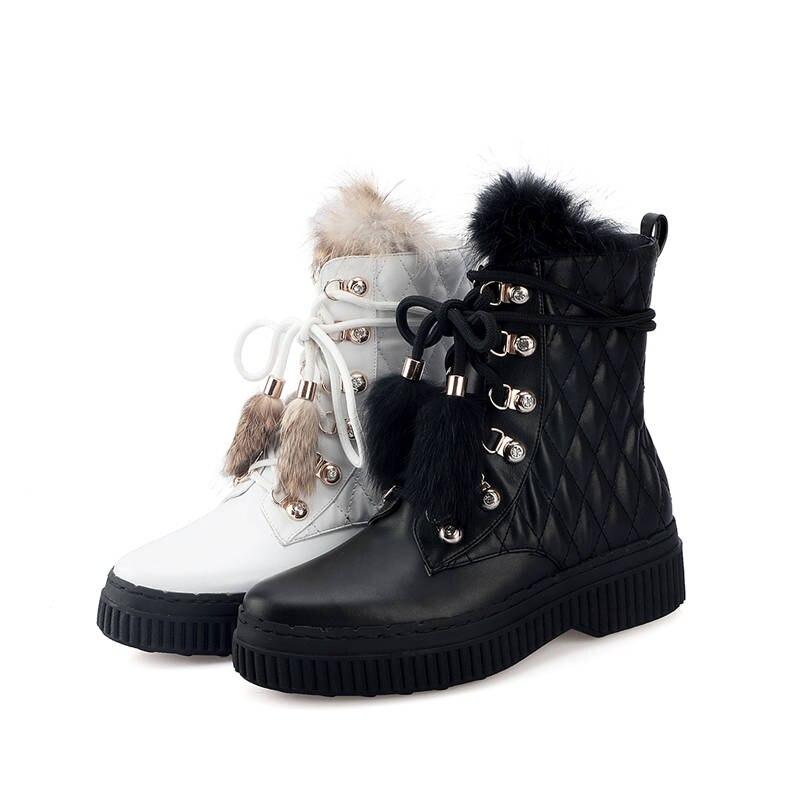 a2639c0a2baf2b Femmes Noir En Plate Noir Chaussures Chaude Rond Pour Bout blanc Femme 2018  Cuir Bottes Cheville Vente Confortable Smeeroon Véritable Up Lace ...