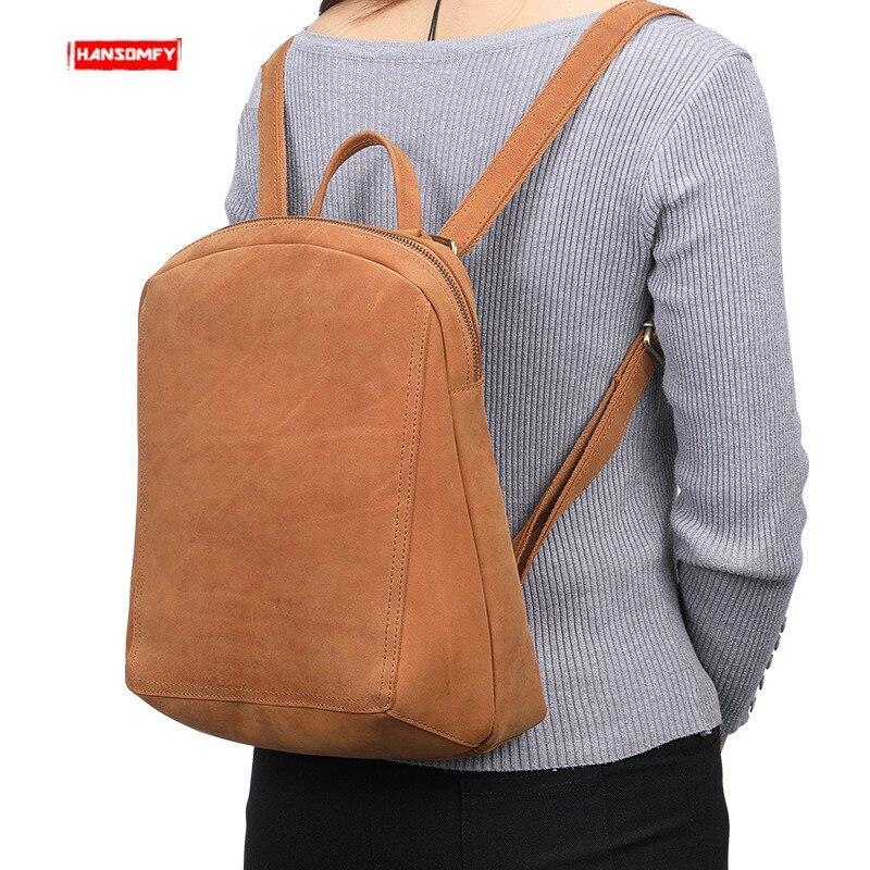 Rétro en cuir véritable femmes sacs à dos femme brun première couche en cuir sacs à bandoulière mode dames multi fonction sac à dos-in Sacs à dos from Baggages et sacs    1
