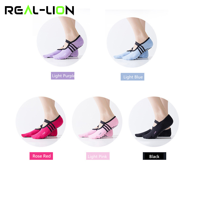 5pces/lot Women Anti-slip Yoga Socks Women Backless Bandage Non-Slip Sports Socks Slipers Ballet Dance Ladies Cotton Socks New non slip toeless yoga socks with grip for women