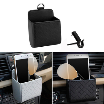 Car Storage Box Leather Organizer Bag Phone Key Holder For Ford Focus 2 3 Fiesta Mondeo Kuga Citroen C4 C5 Skoda Octavia Rapid image