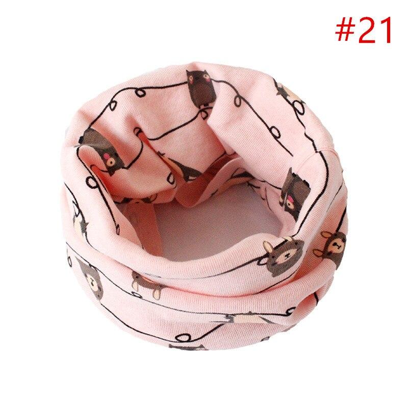 Детский хлопковый шейный шарф с милым принтом; детский теплый шарф; Детские воротники; осенне-зимний шарф-кольцо для мальчиков и девочек; аксессуары для детской одежды - Цвет: No.21