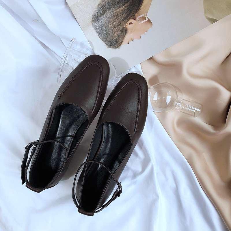 Zapatos Fiesta Diseño L08 A Natural De Cuero Bajos Light Mano Punta Hebilla Lenkisen Cosidos Europeo Salir Marca Cuadrada marrón Gray Tacones Correa AFWZwUxvtq