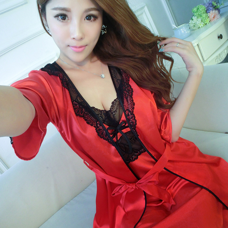Faux silk 2 Piece Robe Sets for women Nightwear Satin Pajamas For Women  Pyjama Femme Sexy 26eb6dbcd