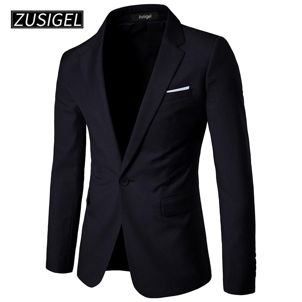 ZUSIGEL Men's Suit Jacket Solid Dress One-Button Notched Lapel Slim Fit White Stripe Pocket Mens Blazer Wedding Fitted Dress