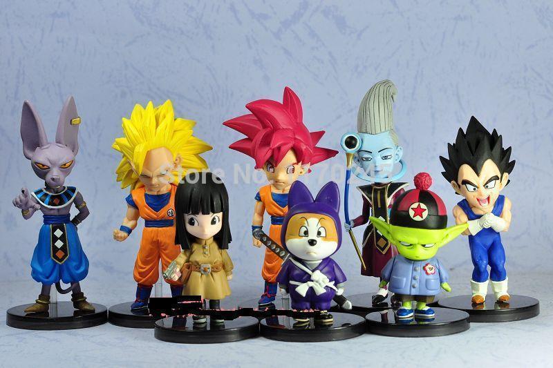 8 pcs/set Dragon Ball Z Battle Of Gods Goku / Belluc / Vegeta / Gohan PVC Action Figures Collection Model classic Toys for gift