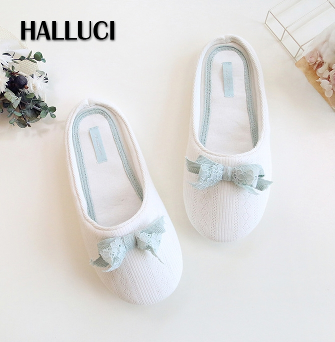 HALLUCI Sweet White home slippers women shoes lace bowknot zapatos mujer ladies mules sapato feminino pantufa terlik sandals halluci breathable sweet cotton candy color home slippers women shoes princess pink slides flip flops mules bedroom slippers