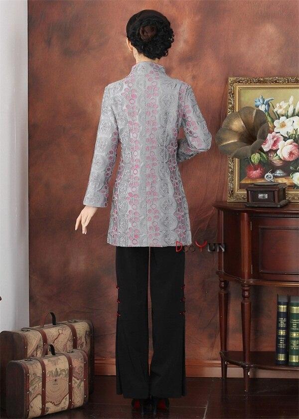 Nouveau Vêtements Fleur Veste Longue D'âge S Xxxl Style Mère lavande Classique De Satin Femmes Miiddle Gris Gris Manteau Applique Taille Bouton À SSrAq8Znv