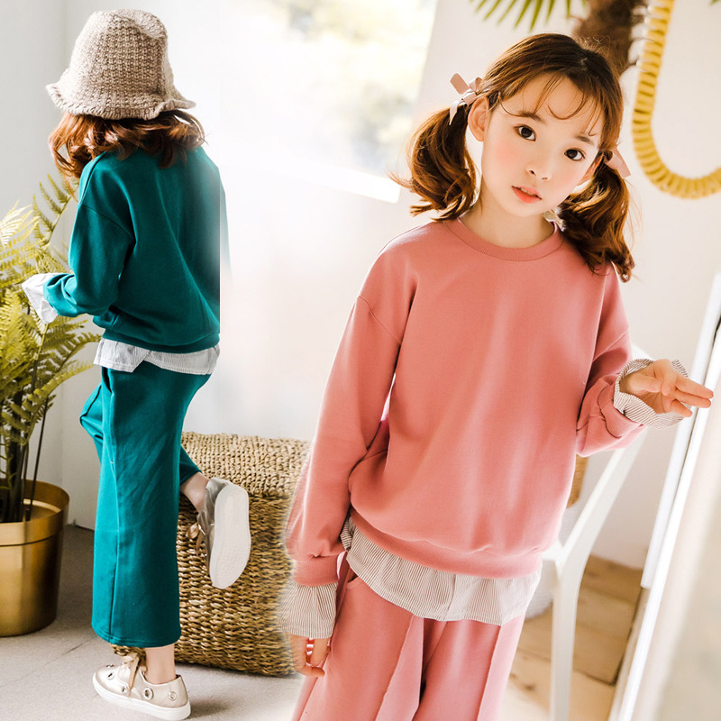 Baby Girl Clothes Set Sports Suits For Girls Teenagers Autumn Long Sleeve Sweatshirt + Pant Student Back To School Outfits 10 12 round neck long sleeve 3d coins print sweatshirt