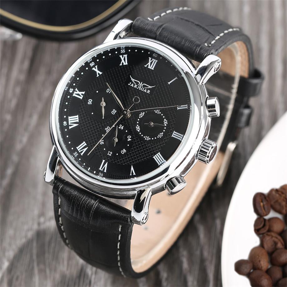 JARAGAR black genuine leather band mechanical watch men08