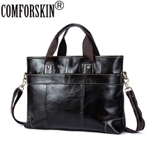 COMFORSKIN Brand Bolsa Masculina Luxurious 100% Genuine Leather Business Men Briefcase New Arrivals Multi-function Handbags