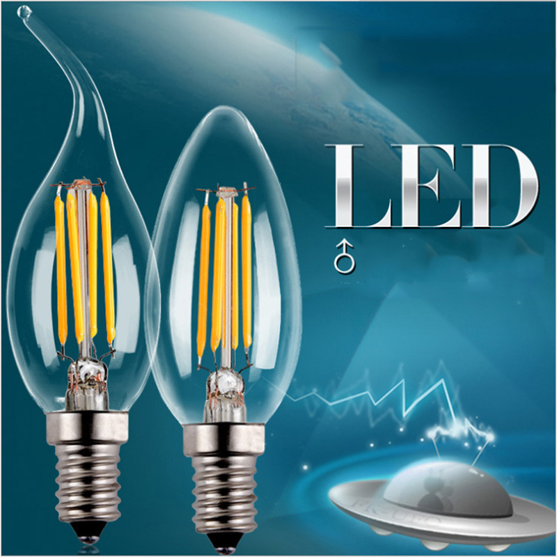 ampoule led e14 led candle lamp tail tip edison retro 2w 4w glass bulb filament lamp led bulbs. Black Bedroom Furniture Sets. Home Design Ideas