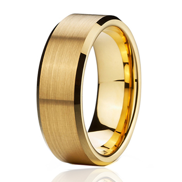 fashion jewelry 8mm gold color titanium stainless steel rings for men anniversary wedding band couple rings for women