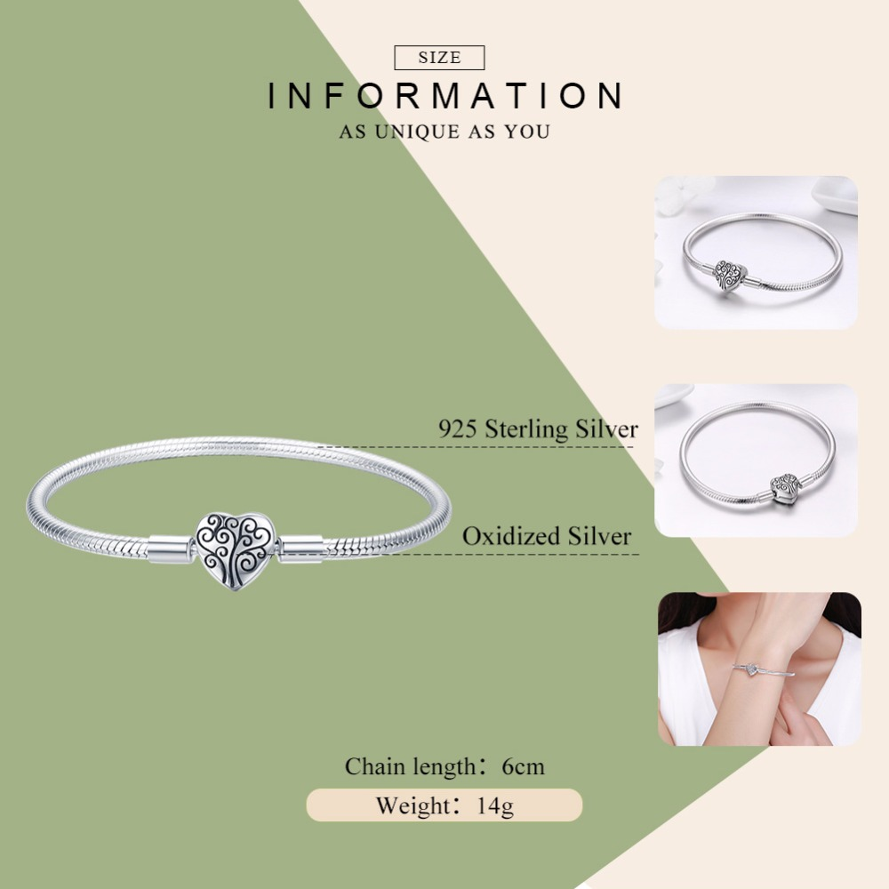 Image 2 - 100% 925 Sterling Silver Family Tree Of Life Snake Chain  Bracelets for Women Heart Pave Sterling Silver Bracelet Jewelry  ECB066Charm Bracelets