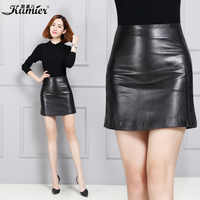 Women Autumn And Winter Plus Size Genuine Leather Skirt
