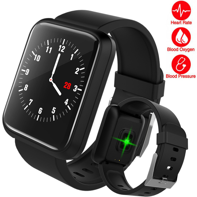 Fashion Men Fitness Smart Watch Men Women Heart Rate Monitor Pedometer Square Bl