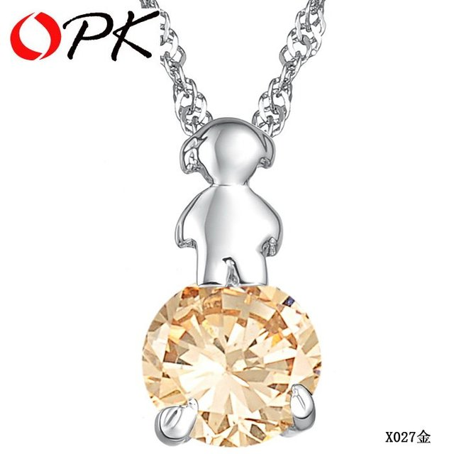 OPK JEWELRY Free Shipping 925 silver pendant 18K white gold GP flower pendant crystal inlay fashion jewelry beautiful chain 027
