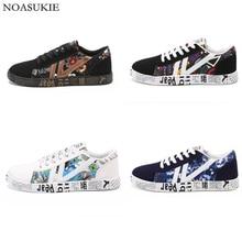 4 Colors Graffiti Casual Shoes Fashion Printed Flat Pattern Stitching Brand Sneakers Hipsters Erkek Ayakkabi