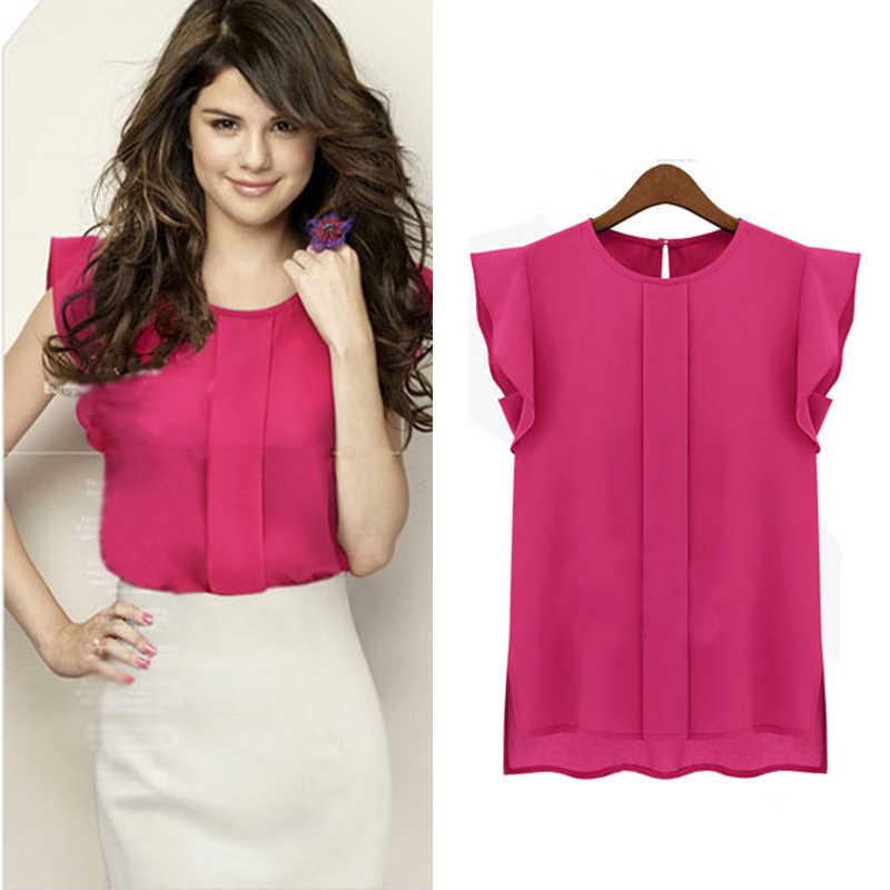 Nuevas blusas de mujer de gasa ropa de verano de señora blusa/camisa de venta de volantes mangas cortas Tops 2019 OL blusa 4 colores venta caliente S-XL