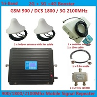 2G 3G 4G Tri Band Mobile Phone Signal Repeater Amplifier LTE 4G cellular signal booster mi band 3 gsm dcs 3g + omni antenna
