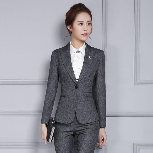 Novedad Gris 2016 Profesional Trajes de Trabajo Formal Con Chaquetas Y Pantalones Mujeres Pantalón Ajustado Señoras Trajes de Negocios Blazers