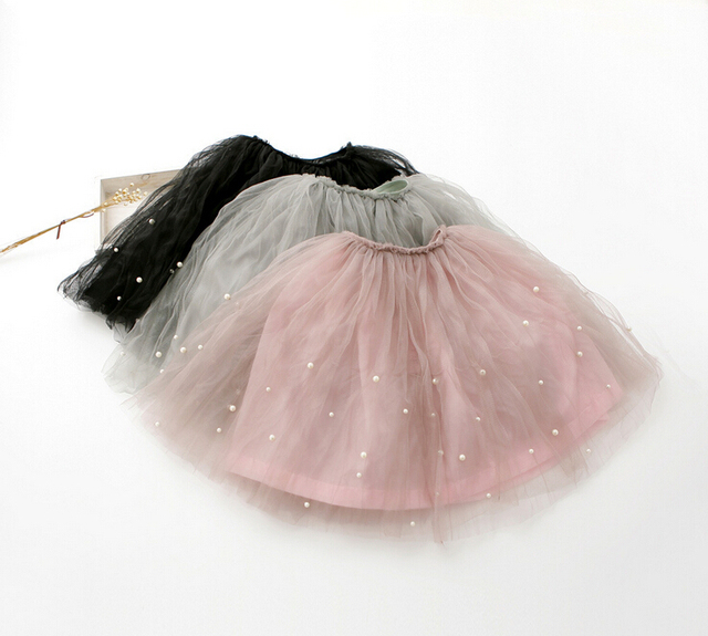 3 colors Children's wear Girls High Waist Skirt with beautiful pearl Baby Kids Casual style Bust Skirt Girls clothing