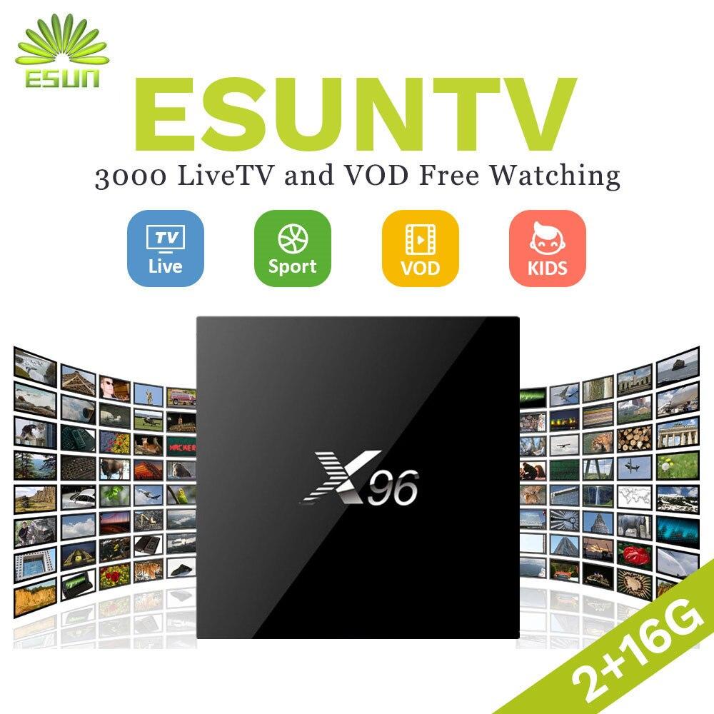 Super Stable ESUNTV X96 Android TV BOX With 1 Year IPTV Configured Arabic Europe IPTV French IPTV Smart TV Box S905X Set top box dalletektv t95n android 6 0 tv box amlogic s905x quad core 1g 8g set top box 600 1year free iptv arabic europe uk french tv box