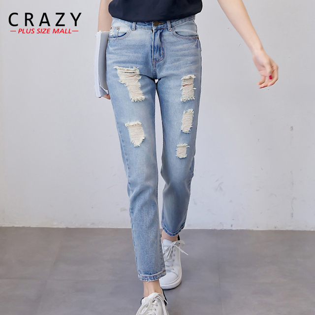 2c3e5d3996f Crazy Plus Size Mall Fit 40-92kg Women Plus Size Skinny Denim Jeans For  Women Summer XL-5XL Ripped Skinny Jeans Pencil Pants 5XL