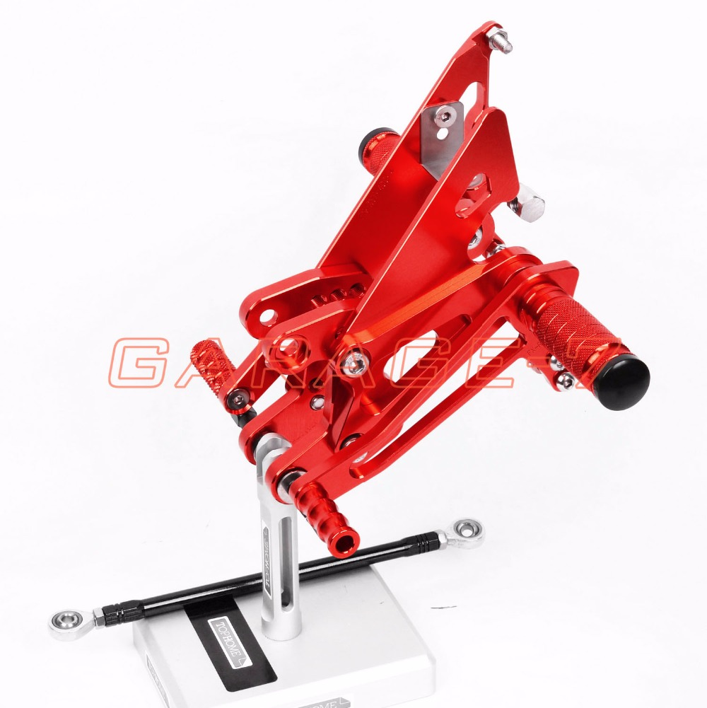CNC Rearsets Adjustable Rear Set Foot Pegs For Honda NC30 RVF400 NC35 All Years Red One Pair Of High-quality Motorcycle