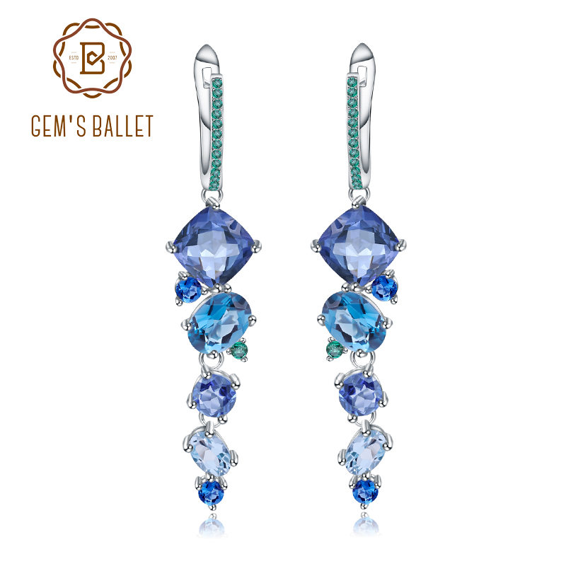 GEM S BALLET Natural Mystic Quartz Topaz Drop Earrings 925 Sterling Silver Handmade Modern Irregular Earrings