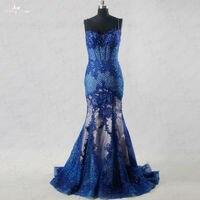 Rse191 yiaibridal элегантный Кружево костей корсет Обнаженная атласа внутри Русалка Королевский синий вечернее платье