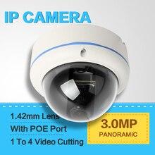 Real Panorámica HD 3MP Domo Al Aire Libre Cámara de Seguridad de 360 Grados de ojo de Pez Cámara IP POE 1 A 4 Corte De Vídeo 5MP 1.42mm Lente