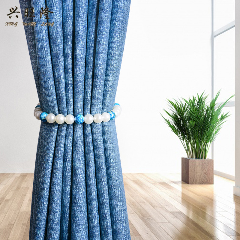 XWL 2Pcs Colorful Pearl Beads Curtain Tieback Magnetic