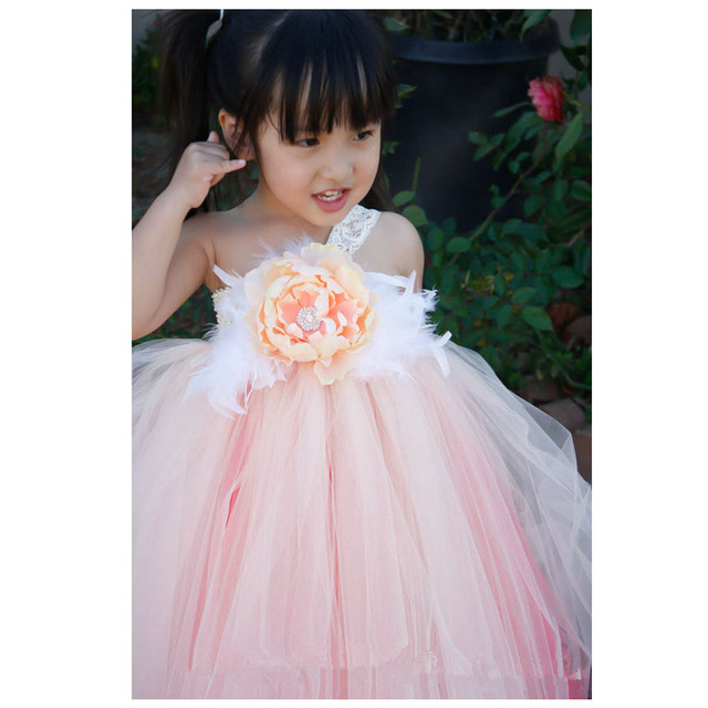 58330661e218 Girls Party Dress Princess 2017 Girls Dresses Peach with Coral Underlay  Wedding Party Dresses For Little Girls