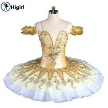 Yellow Fairy With White Tulle Professional Pancake Nutracker Tutus Women Sugar Plum Stage Costumes Tutu BT9134E